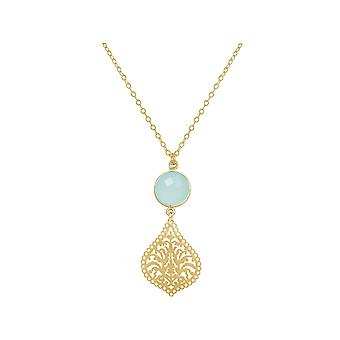 GEMSHINE mandala and chalcedony necklace gemstone. Pendant made of silver, gold plated or 45cm necklace. Made in Madrid, Spain. In the noble case
