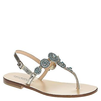 Metallic platinum leather flat jewels sandals