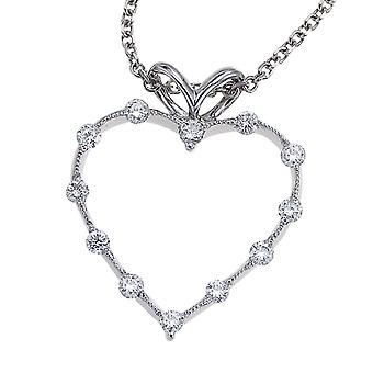 14K White Gold Diamond Heart Pendant with 18