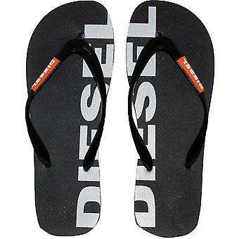 Diesel Logo Flip Flops, Black