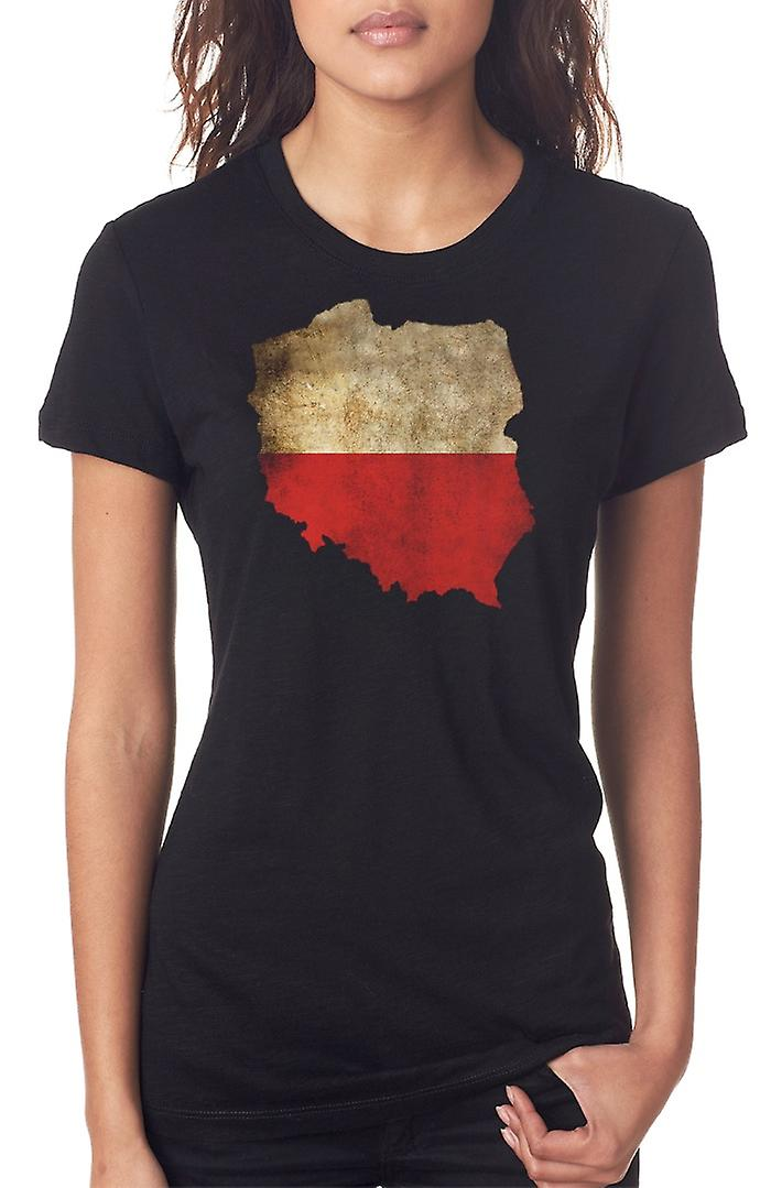Poland Polish Flag Map Ladies T Shirt