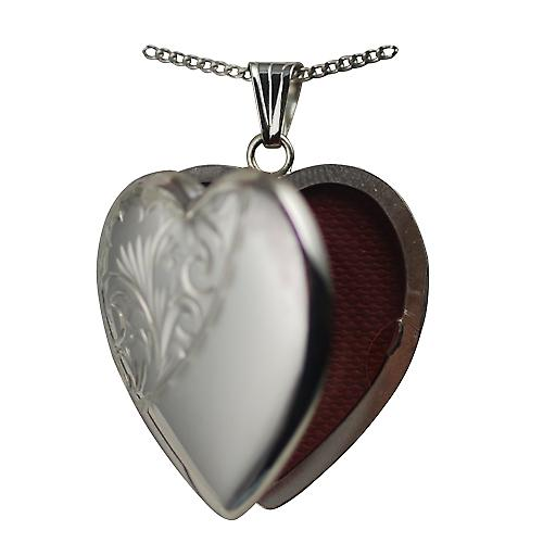 Silver 30x28mm half hand engraved heart shaped Locket with a curb Chain 20 inches