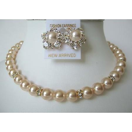 Pearls Swarovski Peach Bridal Mother Jewelry Bridesmaid Gold Rondells