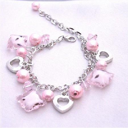 Pink Jewelry Elegant Pink Pearl Pink Crsytal Dangling Bracelet