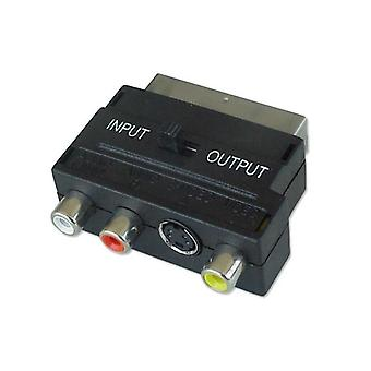 SCART-Adapter Audio & SVHS Video mit in/out Schalter Nickel