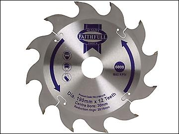Faithfull circulaire scie lame 190 x 16 / 20/ 30mm x 12 t Rip rapide