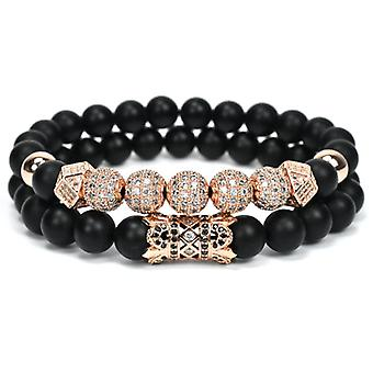 Armbandsset-black pearls and Rhinestones, Rosé