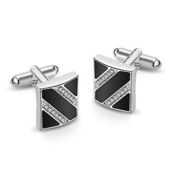 Silver and enamel cufflinks created with swarovski® crystals
