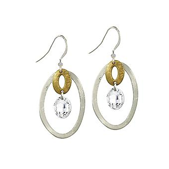 Eternal Collection Danube Clear Crystal Two Tone Gold Drop Pierced Earrings