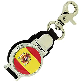Boxx Gents Spanish Flag Picture Keyring Fob Watch With Magnetic Closure Boxx348