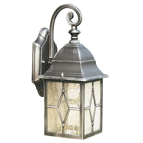 Searchlight 1642 Genoa Aluminium Outdoor Wall Light With Leaded Glass