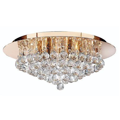 Searchlight 3406-6GO Hanna Traditional Gold Crystal Flush 6 Light With Round Drops
