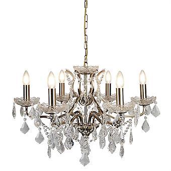Latón antiguo de París y luz lámpara de araña de cristal seis - reflector 8736-6AB