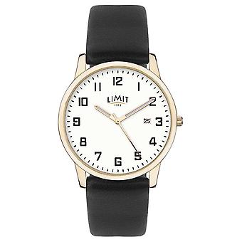 Limit | Mens Black Leather | Silver Dial | Gold Case | 5742.01 Watch