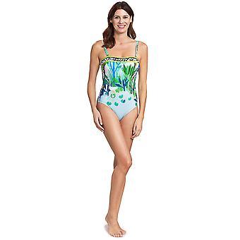 Feraud 3195301-16526 Women's Voyage Sealeaves Blue Costume One Piece Swimsuit