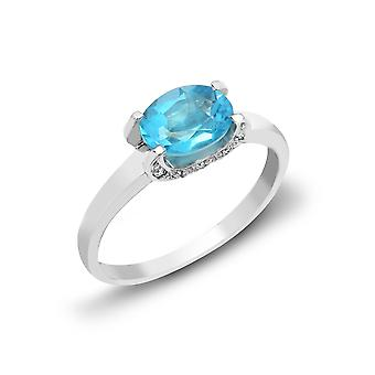 Jewelco London 18ct White Gold 4 Claw Set Round H SI 0.04ct Diamond and Oval Blue 1.5ct Topaz Fancy Solitaire Ring 6mm
