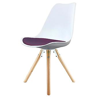 Fusion Living Eiffel Inspired White And Aubergine Purple Plastic Dining Chair With Pyramid Light Wood Legs