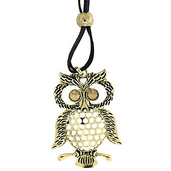 Antique Gold Oversized Wise Owl Pendant on Cord Long Necklace