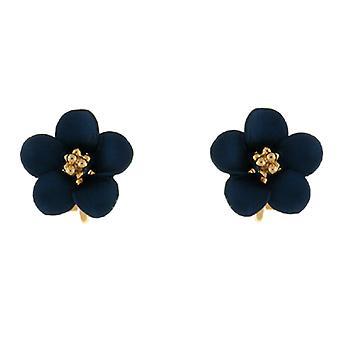 Clip op oorbellen winkel Petite goud vergulde Matt blauw Daisy bloem Clip op Earring