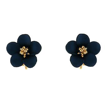 Clip On Earrings Store Petite Gold Plated Matt Blue Daisy Flower Clip on Earring