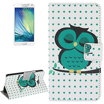 Cover cell phone case (flip cross) for mobile Samsung Galaxy A5 A500F thick OWL on tree branch