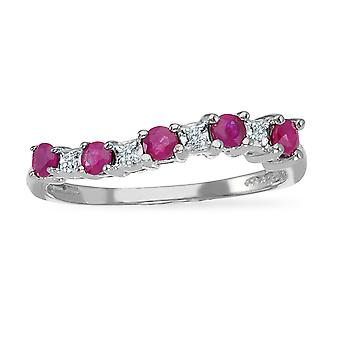 14k White Gold Ruby and Diamond Wave Band