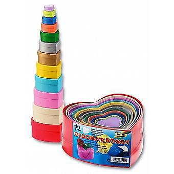 12 Heart Coloured Board Stacking Boxes Versatile for Crafts & Wrapping