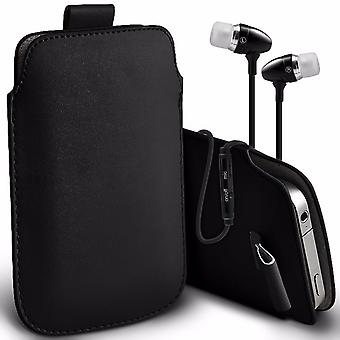 i-Tronixs Premium Stylish Faux Leather Pull Tab Pouch Skin Case Cover with Aluminium Stereo Hands Free Earphone For ZTE Blade A475 (5
