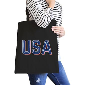 USA With Stars Black Canvas Bag Unique USA Letter Printed Tote Bag