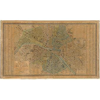 Paris Map Gouijon and Andriveau 1830 Poster Print Giclee