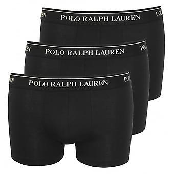 Polo Ralph Lauren Cotton Stretch Triple Pack Boxer Trunks, Black