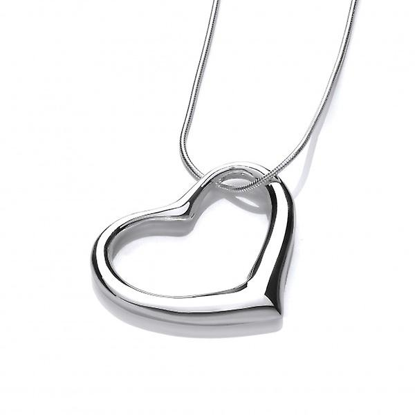 Cavendish French Sterling Silver Offset Heart Pendant without Chain