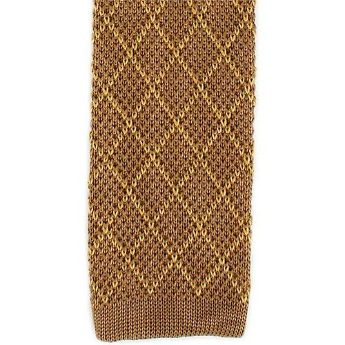 Michelsons of London Diamond Silk Knitted Skinny Tie - Brown/Gold