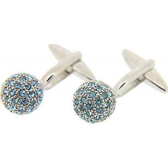 David Van Hagen Crystal Ball Cufflinks - Silver/Aquamarine