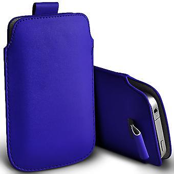 Samsung Галактика A3 скольжения в тянуть вкладки искусственной кожаный чехол мешок (синий)