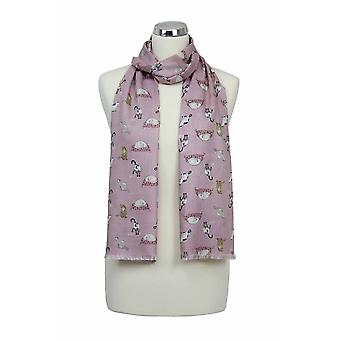 Peony Scarf - Sleeping Cats - Candy Floss