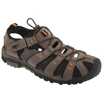 PDQ Mens Toggle & Touch Fastening Synthetic Nubuck Trail Sandals