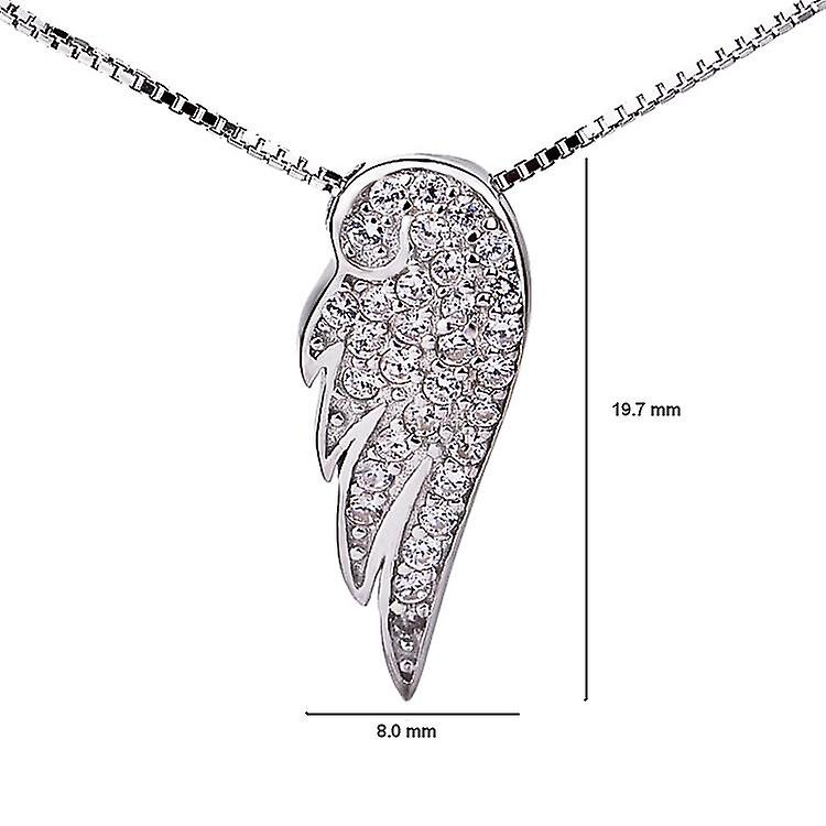 Affici Sterling Silver Angel Wing Pendant with Chain 18ct White Gold Plated