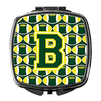 Letter B Football Green and Yellow Compact Mirror