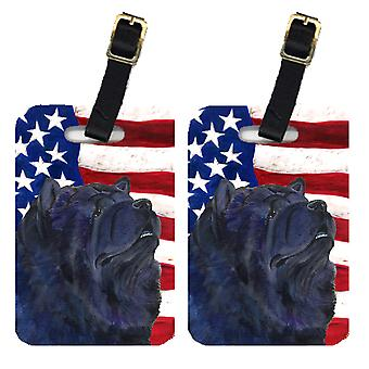 Pair of USA American Flag with Chow Chow Luggage Tags