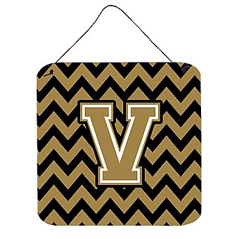 Letter Chevron Black and Gold  Wall or Door Hanging Prints CJ1050