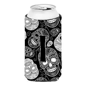 Letter I Day of the Dead Skulls Black Tall Boy Beverage Insulator Hugger