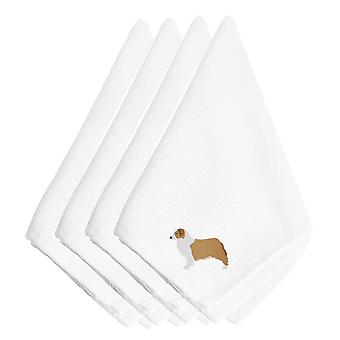 Australian Shepherd Dog Embroidered Napkins Set of 4