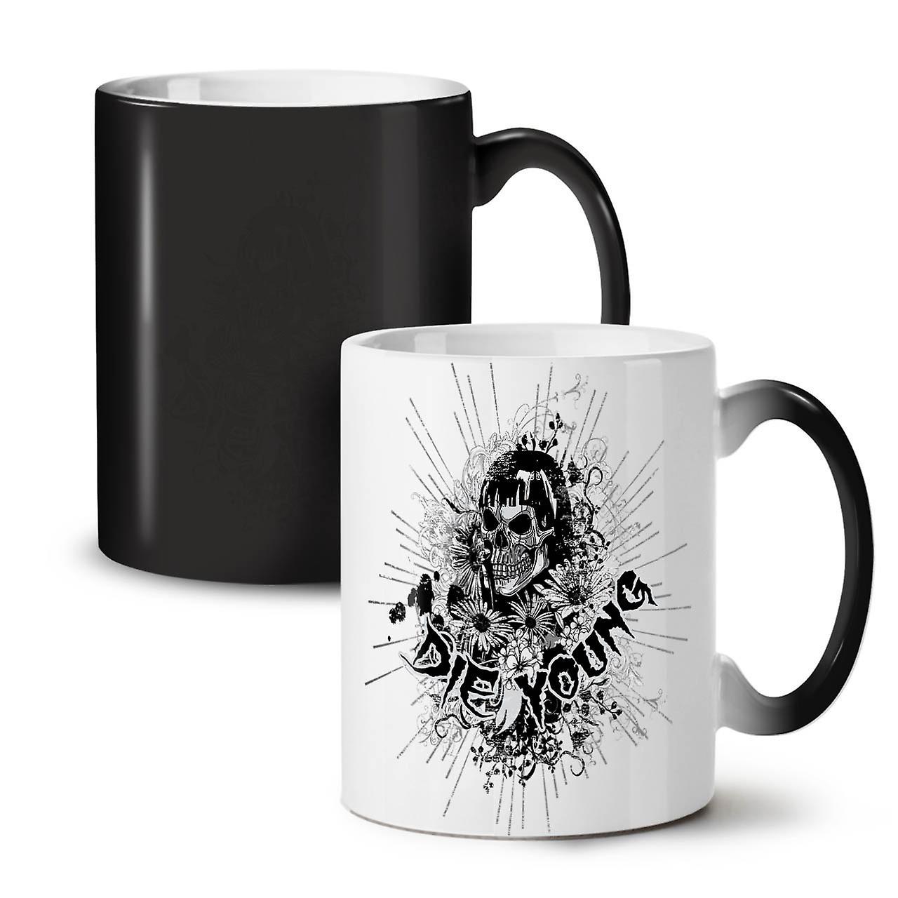 Couleur Nouveau Noir Mourir Tasse Café Céramique Thé Changeant Jeune OzWellcoda De 11 Fleur Crâne hxdQrCts