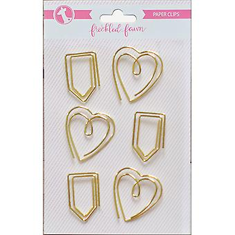 Freckled Fawn Decorative Metal Paper Clips 6/Pkg-Gold Heart & Tab PCHEARTT