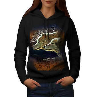 Wolf Beast Wild Animal Women BlackHoodie | Wellcoda