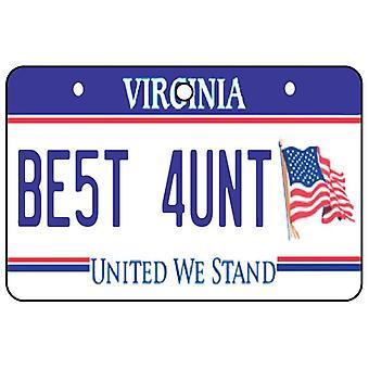 Virginia - Best Aunt License Plate Car Air Freshener