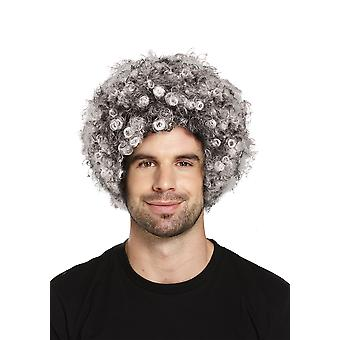 Grey Afro Wig Old Last Bad Burglar Grandma Fancy Dress Accessory