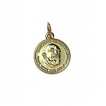 9ct Gold 14mm round St Padre Pio Pendant