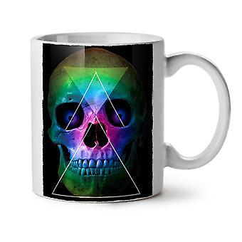 Cráneo esqueleto de triángulo nuevo té blanco taza de café de cerámica 11 oz | Wellcoda